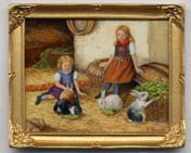 Miniature painting 0202 Farmyard Scene with 2 Girls and Rabbits