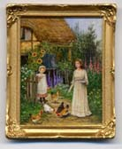 Miniature Painting 0207 Cottage scene with a Woman & a Girl feeding Chickens