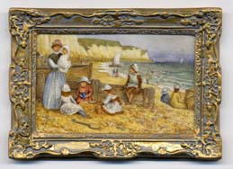 miniature painting 0212 Beach Scene in front of White Cliffs