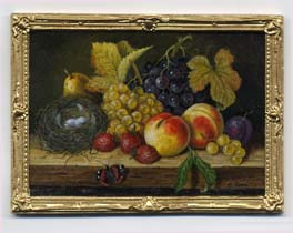 Miniature painting 0231 Still Life with Fruit and a Nest with Eggs