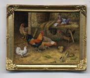Miniature painting 0234 Farmyard Scene with Hens & Chicks