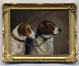 Miniature Painting 0240 Pair of Foxhounds Chained
