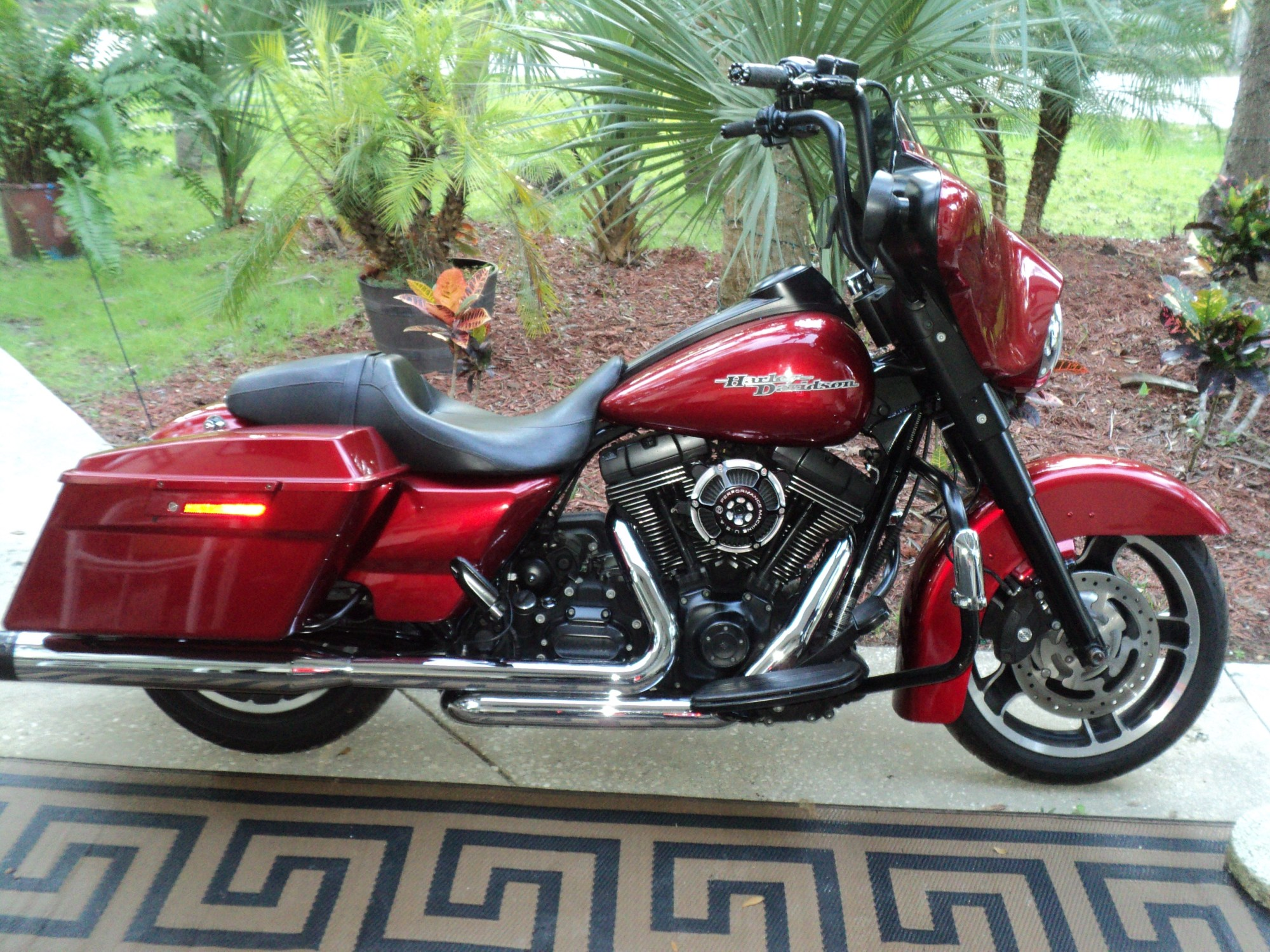 hight resolution of super cool street glide black aps with interal wires custom black grips nice deep red paint reinhart pipes cool breather kit fuel down load blacked out
