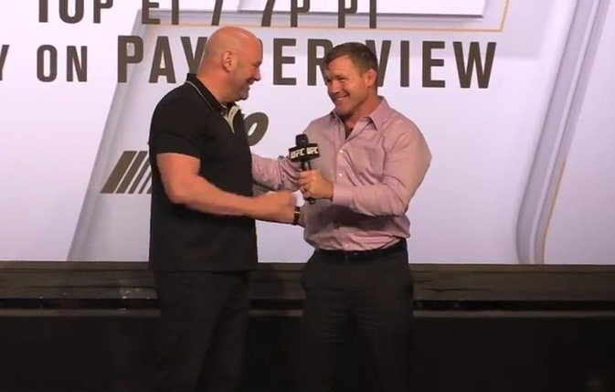 Dana White and Matt Hughes share emotional moment at doc release