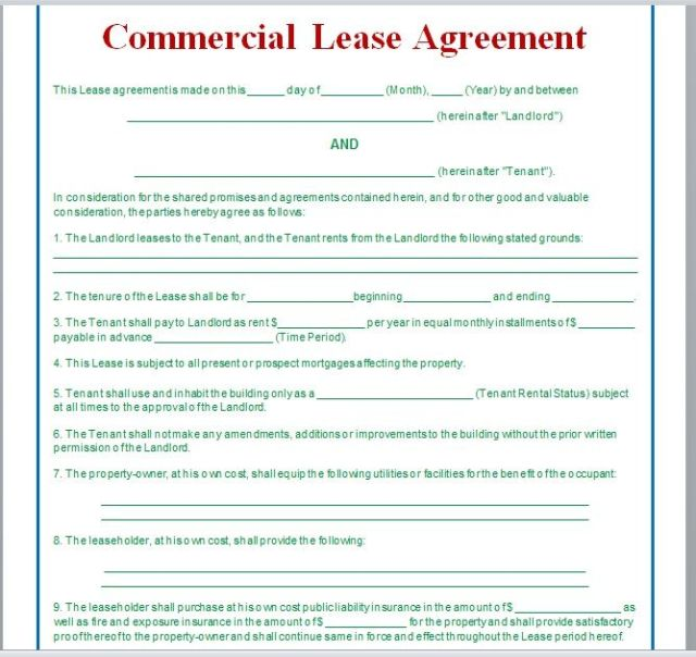 Commercial Lease Agreement Template 09