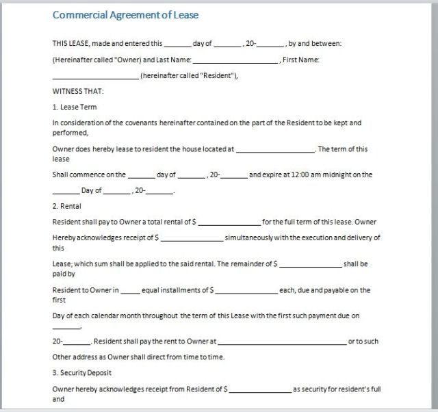 Commercial Lease Agreement Template 11