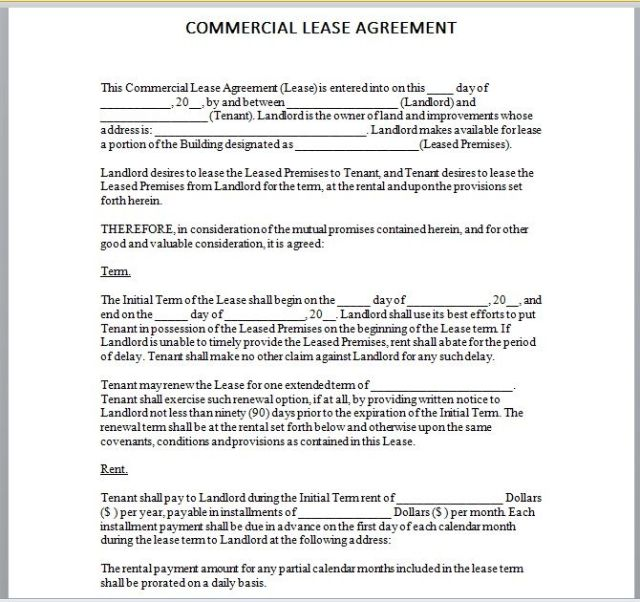 Commercial Lease Agreement Template 12