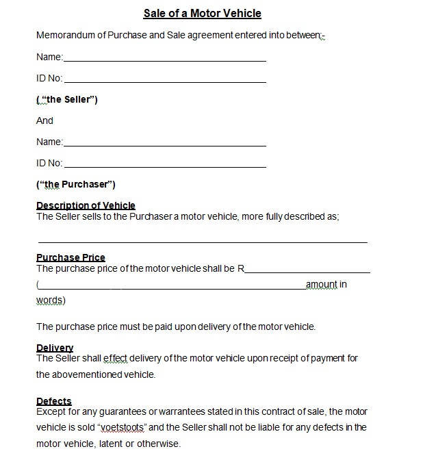 Vehicle Purchase Agreement Template 03