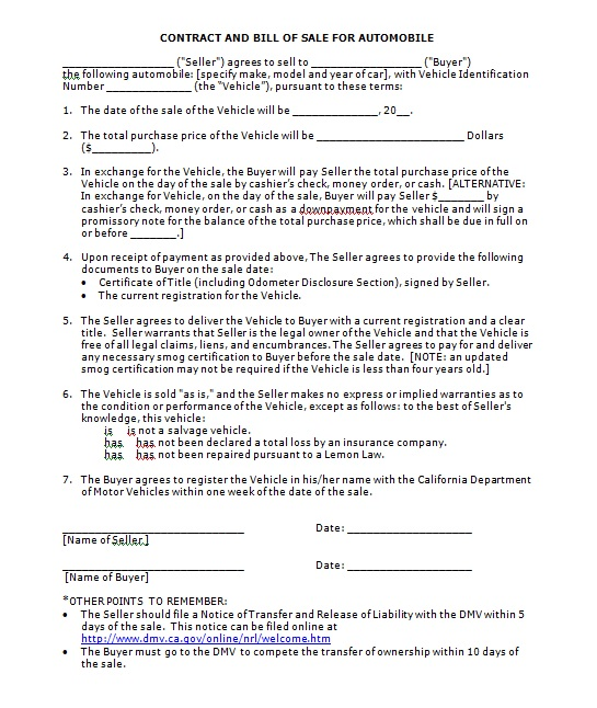 Vehicle Purchase Agreement Template 11