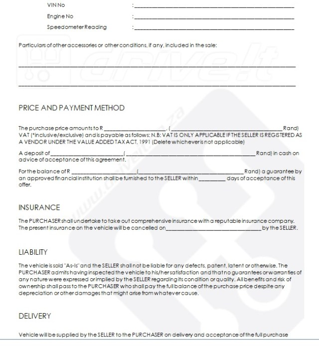 Vehicle Purchase Agreement Template 14