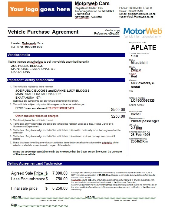 Vehicle Purchase Agreement Template 16