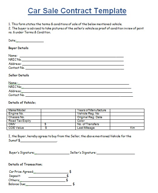 Vehicle Purchase Agreement Template 19