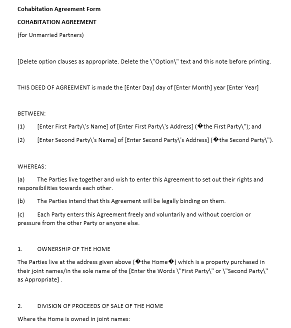 cohabitation agreement template 11.