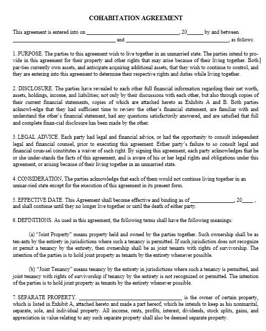 cohabitation agreement template 14..