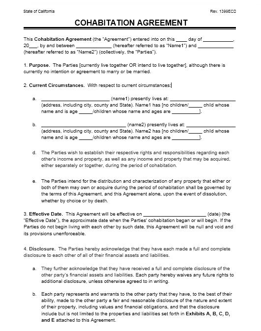 cohabitation agreement template 16.