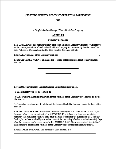 llc operating agreement template 05