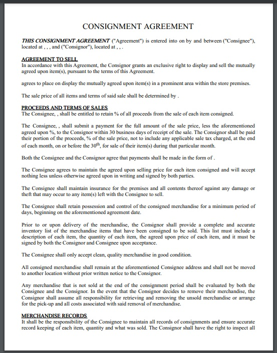Consignment agreement template 06