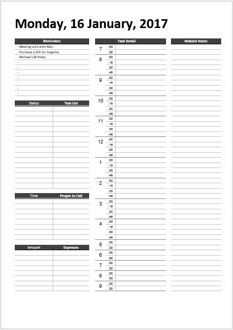 Daily Work Schedule Templates 04.