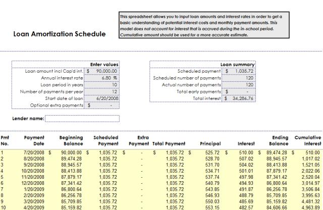 Loan Amortization Schedule Template 11