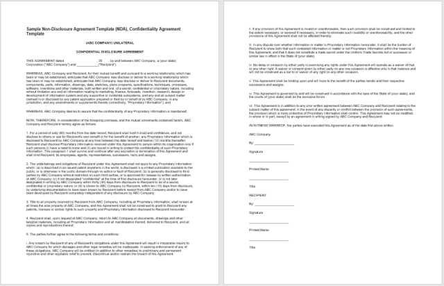 Non Disclosure Agreement Template 12