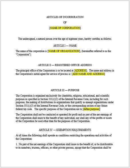 articles of incorporation template 06