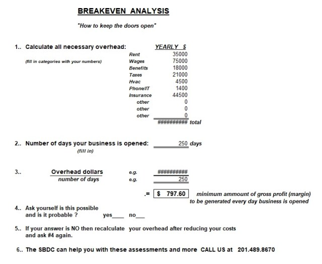break even analysis template 18