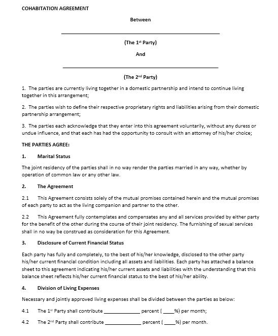 cohabitation agreement template 07.