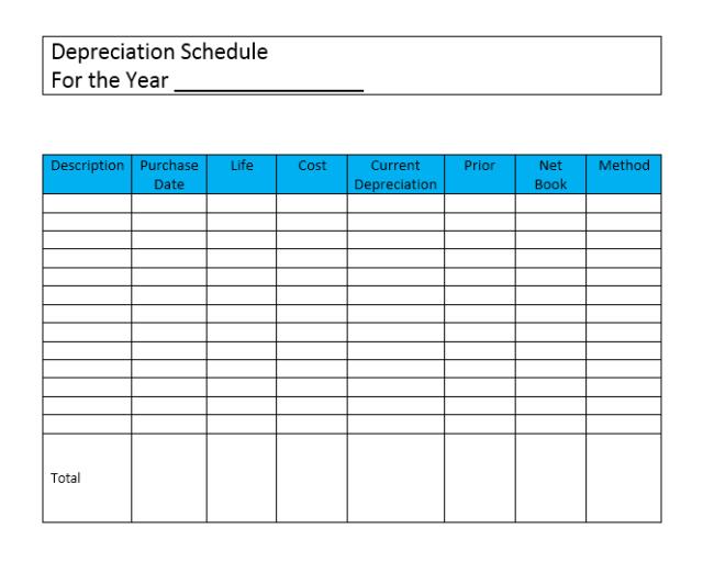 depreciation schedule template 16