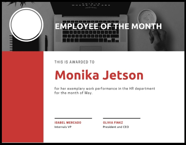 employee of month certificate template 01