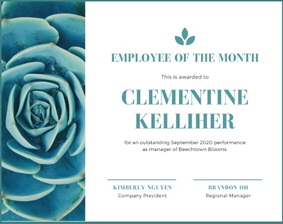 employee of month certificate template 15