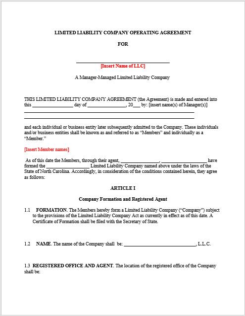 llc operating agreement template 08