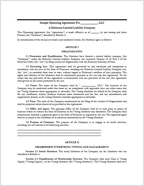 llc operating agreement template 16