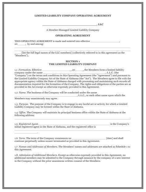 llc operating agreement template 17