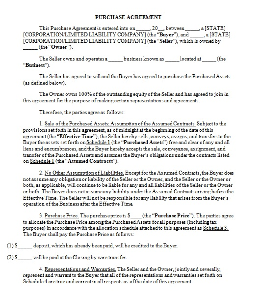 purchase agreement template 02