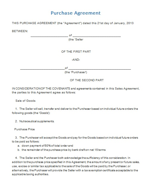 purchase agreement template 03