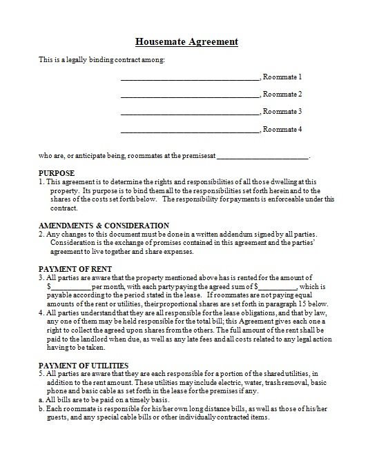 roommate agreement template 11