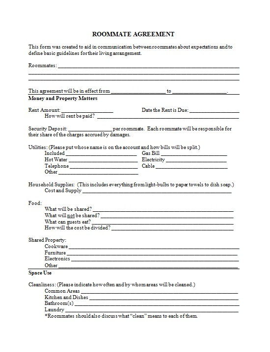 roommate agreement template 16