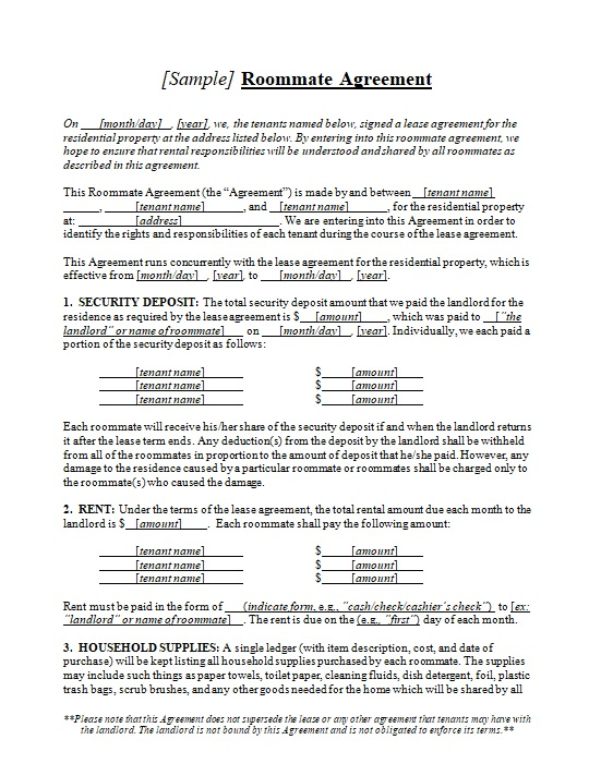 roommate agreement template 18