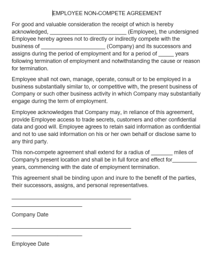 Non-Compete Agreement Template 05