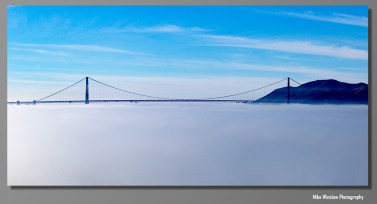 The Golden Gate Bridge from Alcatraz. The fog had just settled below the bridge deck. 10x20