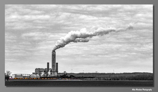 It was a dreary February offering very little to photograph except the West Alton Power Plant and a coal train.