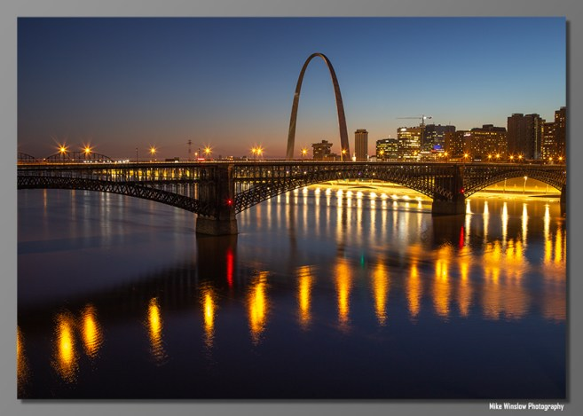 The Martin Luther King bridge over the Mississippi River was closed for construction on a brisk evening March 6, 2020 when myself, Patty and a handful of photographers walked on to the bridge to ply our skill at capturing the Eads Bridge and the Gateway Arch in St. Louis.
