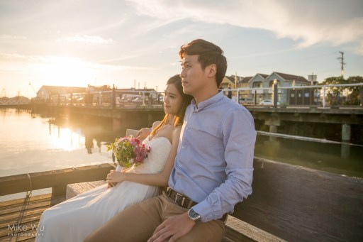 Steveston, river, Richmond, couple, wedding, engagement, photoshoot, sunset, beautiful, water, dock, skies, golden, bench, rest, beauty, bouquet, white dress, formal, couple