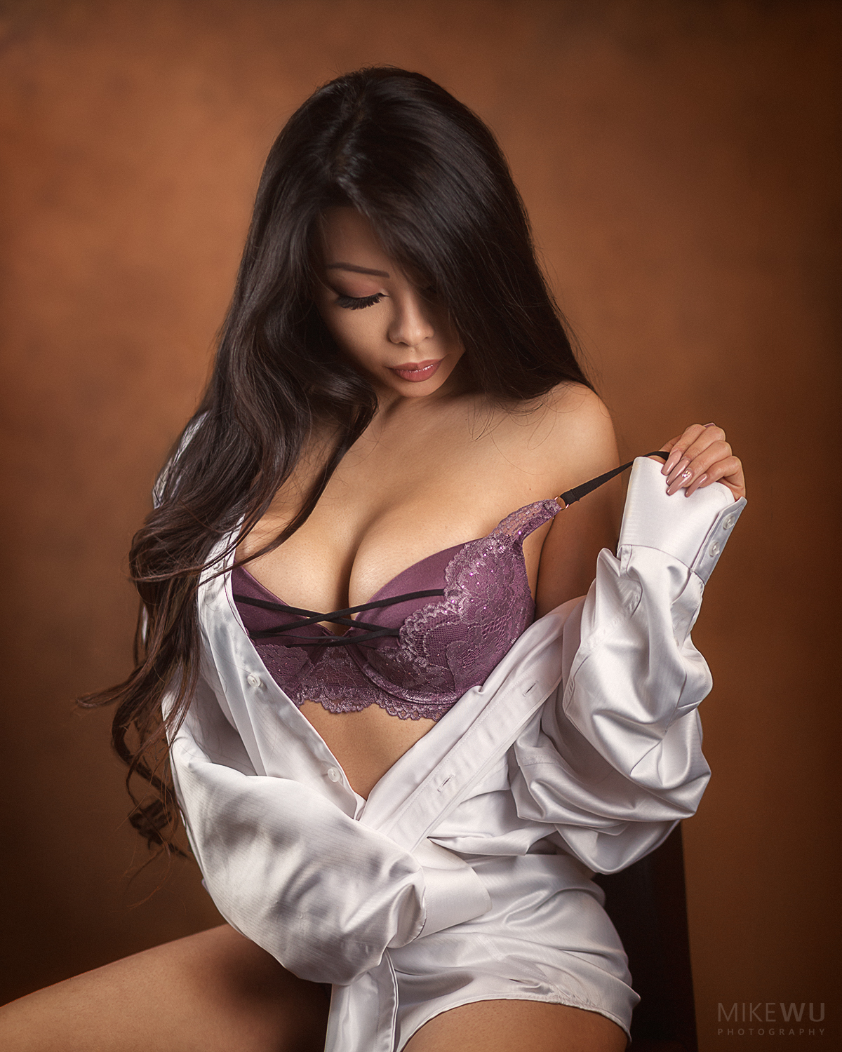 vancouver portrait photographer mike wu indoor studio beautiful sexy boudoir intimate asian photoshoot white shirt purple bra alluring sitting lingerie 3d