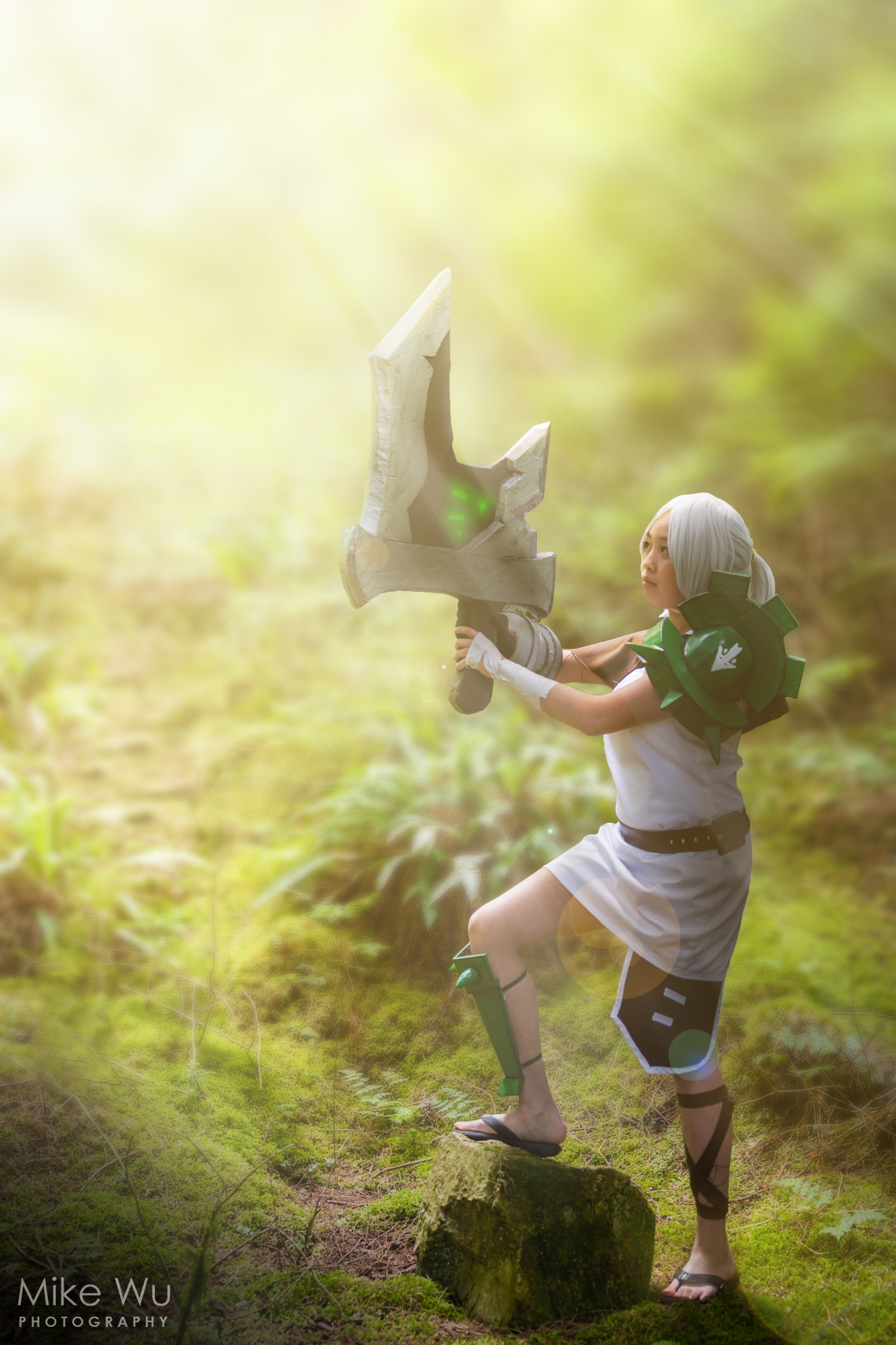 cosplay, riven, league of legends, sword, forest, game, computer, competitive, compete, costume