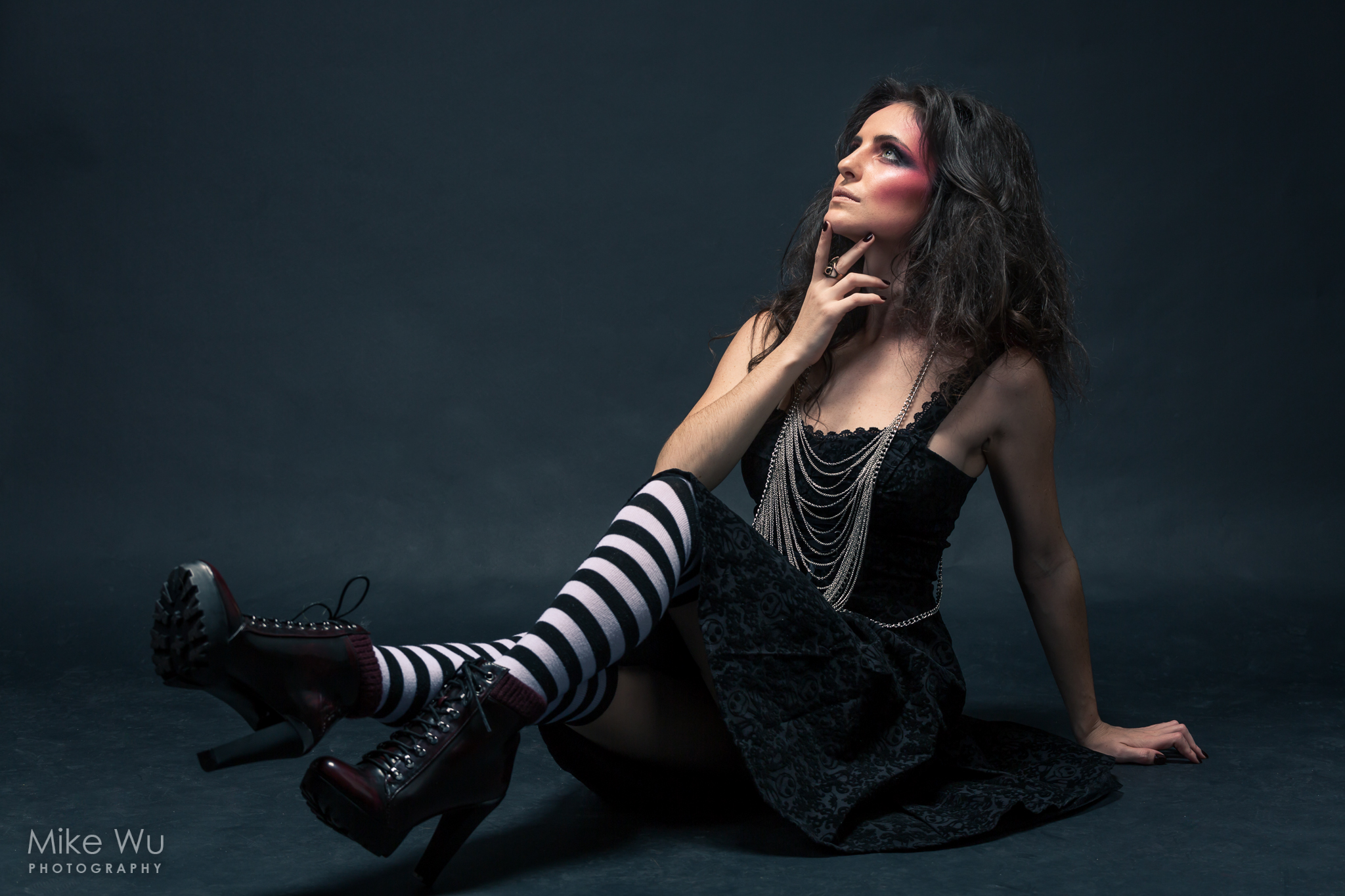 dark, lowkey, vancouver, studio, gothic, jewelry, necklaces, black dress, striped leggins, black shoes, cool, goth, photoshoot, fashion
