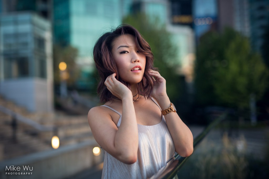 vancouver portrait photographer mike wu hair asian city night urban environment lady watch light downtown
