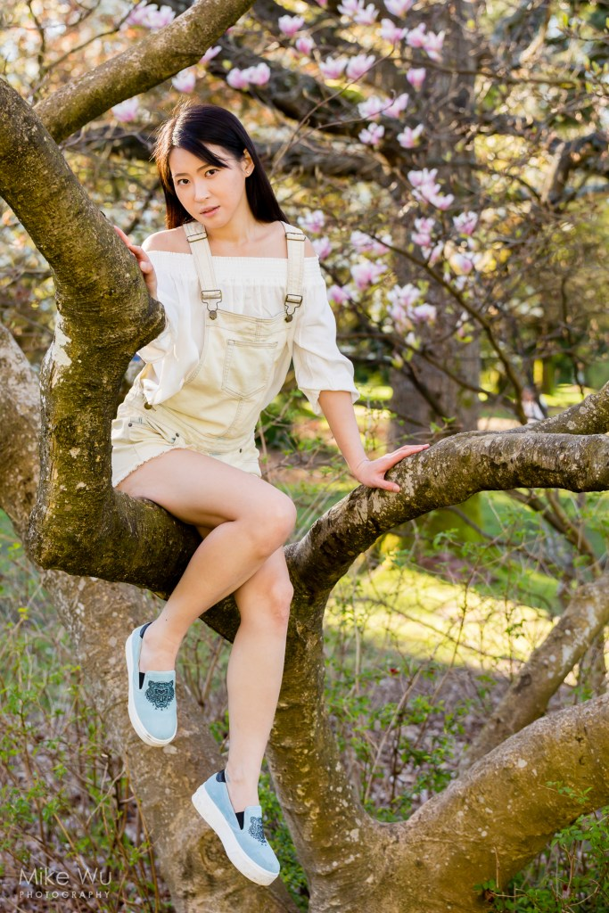 The step ladder allowed me to adjust my position relative to the tree climber. Model Chloe Ha