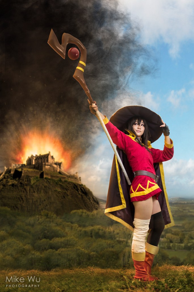 explosion, megumin, konosuba, staff, fortress, hill, mountain, dark lord, vancouver, composite, photography, cosplay, cosplayer