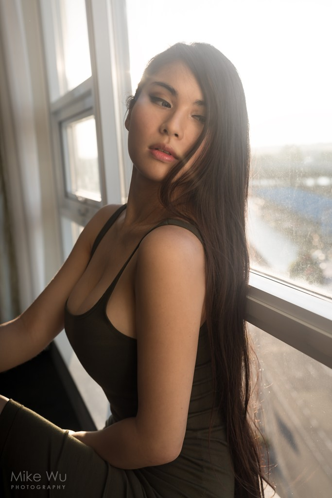 vancouver portrait photographer mike wu indoor studio window mood chinese beautiful pretty hair sunset golden